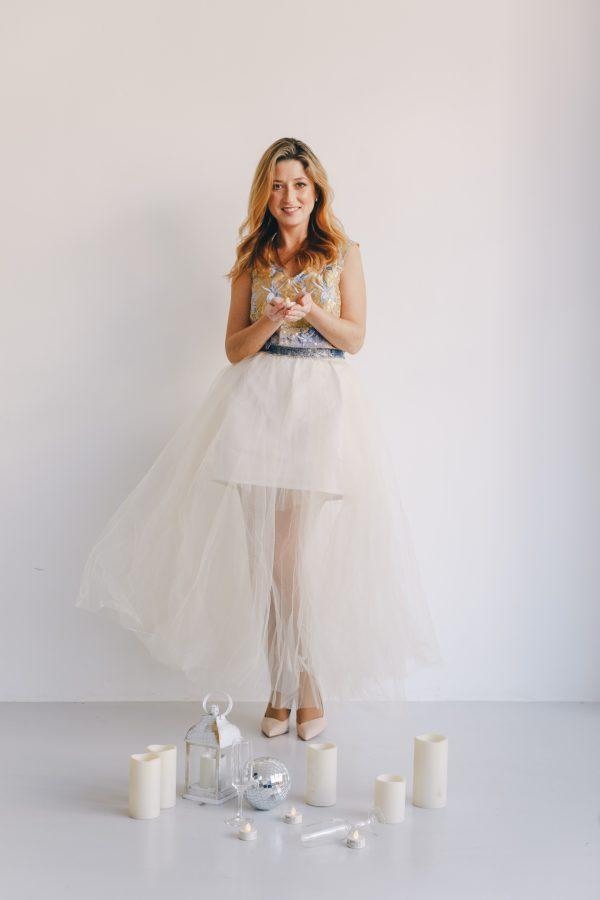 falda de tul novia con forro corto