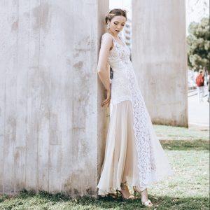 Vestido de novia en color champagne