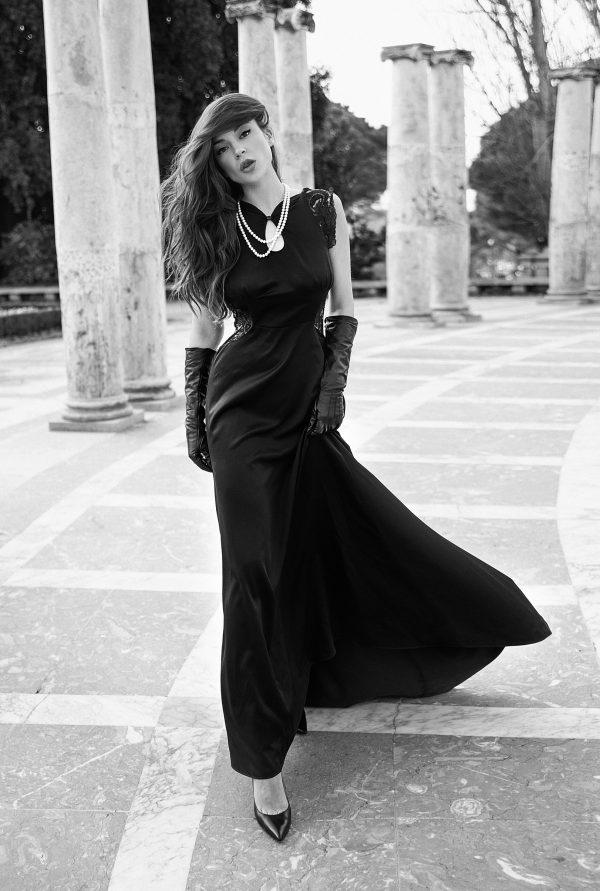 Vestido fiesta gala negro de raso