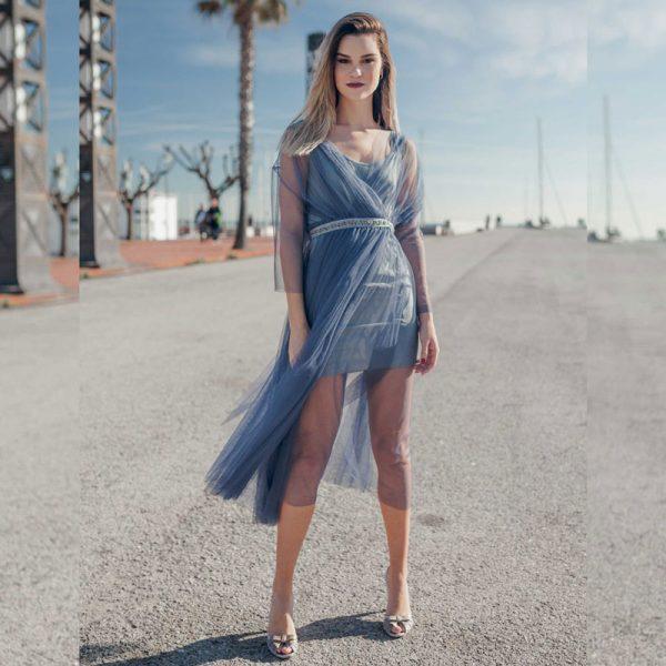 vestido de tul azul