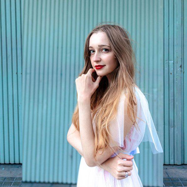 Vestido 2-en-1 de tul blanco