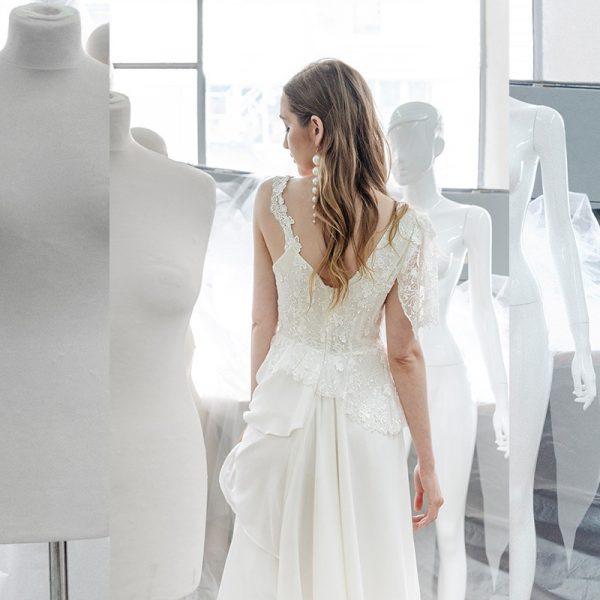 Vestido de novia asimetrico fantasia