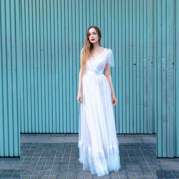 Vestido largo 2-en-1 de tul blanco