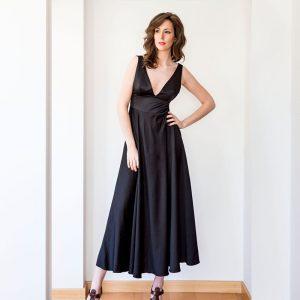 vestido fiesta negro escote v