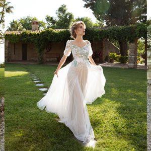 Vestido de novia estilo princesa con manga