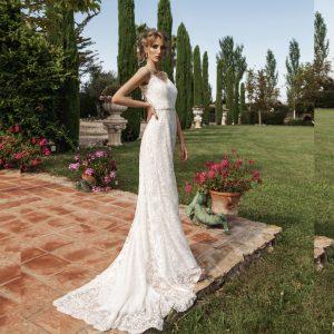 Vestido de novia rustico color crema